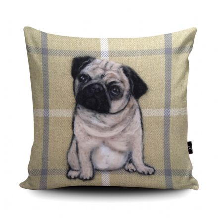 Pug Dog Print vegan faux suede cushion with a Fibre Inner by Sharon Salt